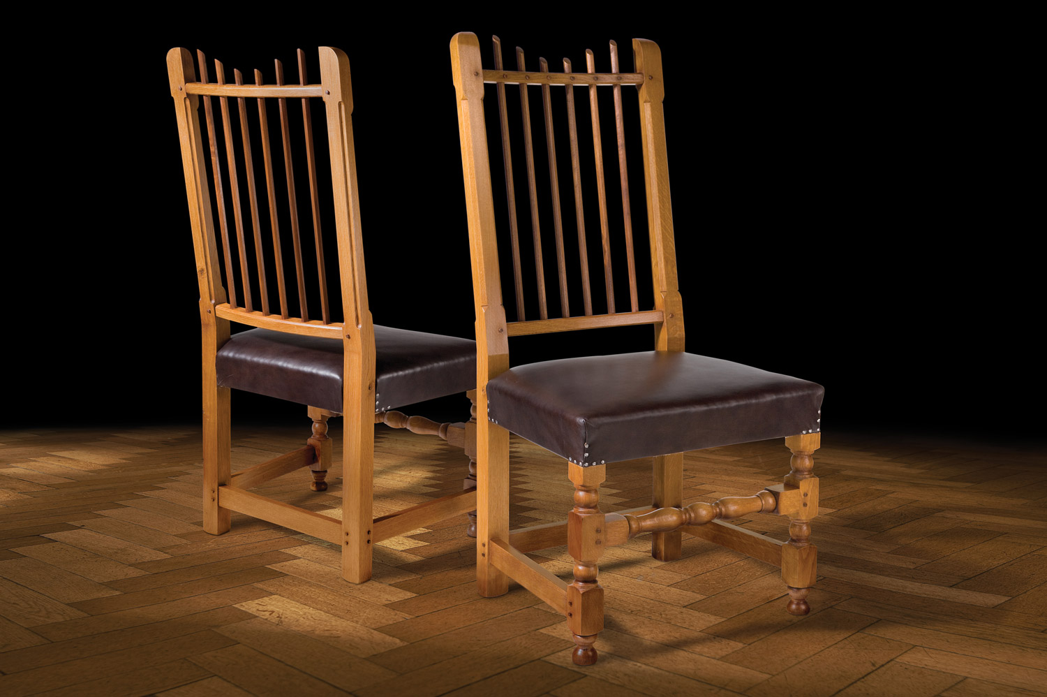 Spindle Back Oak Chairs